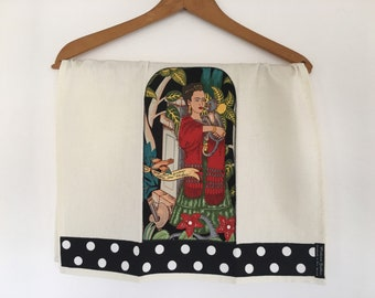 Tea-Dish-Kitchen-Hand Towel-Frida-Frieda-Mexican Artist-Monkey-Black and White Polka Dots-Art-Folklorico-Garden-Flowers-Day of the Dead