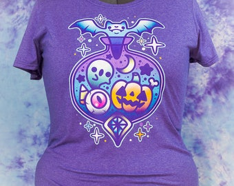 Midnight Magic Pastel Cute Halloween Potion Bottle Graphic Tee Fairy Kei Pastel Goth Creepy Cute