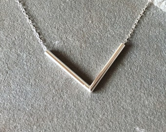 Sterling Silver Everyday Necklace, Chevron Necklace, Tube Necklace, Geometric Necklace, Simple Necklace, Chevron Tube Necklace, Necklace