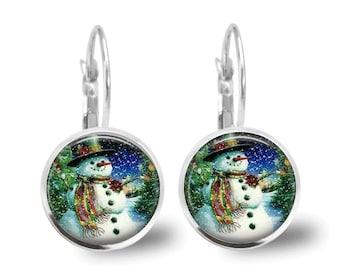 Christmas Earrings Snowman Earrings Christmas Jewelry Tile Earrings Holiday Jewelry Snowman Jewelry Holiday Earrings Silver Jewelry