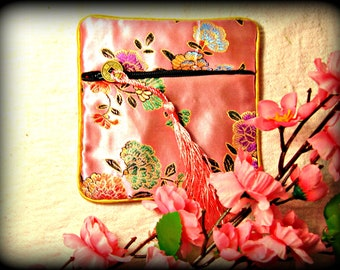 Light Pink Brocade Fabric Purse (shipping included)
