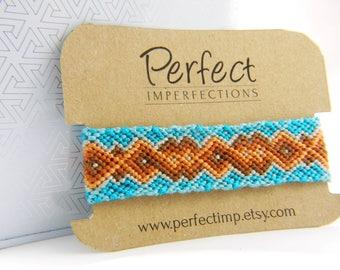 Turquoise Orange Brown Handwoven Friendship Bracelet // PerfectImp Best Friend Gift // Hippie Boho Jewelry // OOAK Egyptian Cotton Macrame