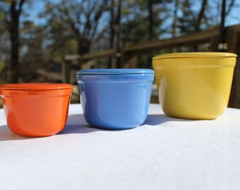 Oxford-Ware Pottery Nesting Bowls with Lids, Glazed Bright Yellow, Blue, and Orange