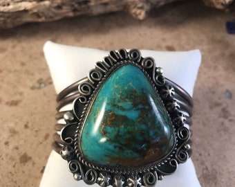 Kingman Turquoise & Sterling Silver Handstamped Cuff Signed