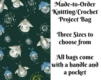 Fireflies - Green, Knitting Project Bag, Large Project Bag, Drawstring, Zippered, Sock Sack, Yarn Tote, Sock Project