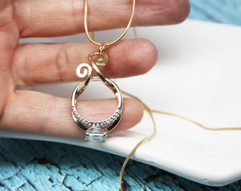 SALE - Magic Ring Holder Necklace, Wedding / Engagement Ring Holder Pendant, Yellow or Rose Gold Filled