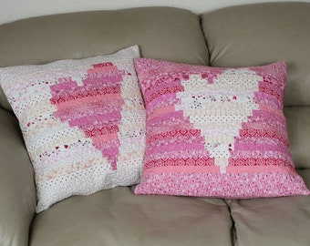 Quilted Heart Pillows, Set of Two Pink and White Quilted Throw Pillows - 18 inch Scrappy Decorator Throw Pillow Covers, Quiltsy Handmade