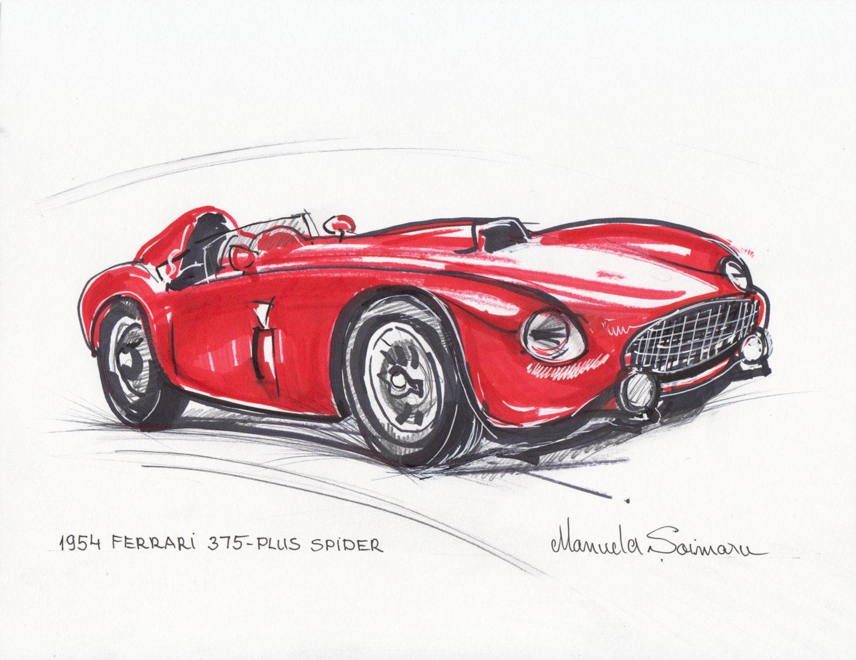 Classic Car Print 1954 Ferrari 375 Red Car Drawing Racing Car