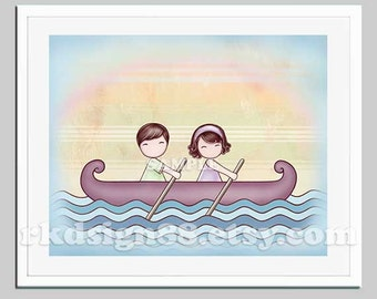 Cute couple gift, art for anniversary gift, wedding gift, couple portrait, love art print, Valentine's Day gifts - Stronger 8 x 10