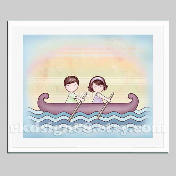 Items similar to Cute couple gift, art for anniversary gift, wedding ...