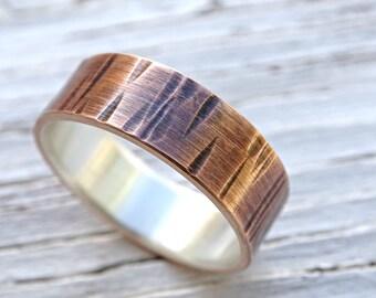 wood grain ring mixed metal wedding ring, mens wedding band bronze, tree bark ring bronze silver mens ring, rustic silver bronze ring men