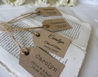 Individually Personalised Place Name Tags Vintage Wedding Kraft Brown Handmade