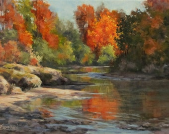 Fall Reflections - Small Original fall river painting