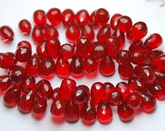 10 Pcs,RUBY RED Quartz Faceted Drops Shape Briolette,11-12mm
