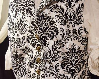 Black and White Elegant Velvet Burnout Vest Wastecoat