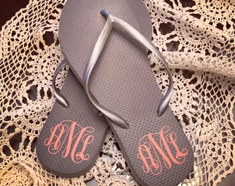 Monogrammed Flip Flops   Custom Flip Flops   Personalized Flip Flop   Bridal Party Flip Flops   Bridesmaid Gifts   Wedding Shoes