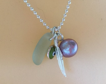 Edison pearl/neckmess/Ripple pearl/Evil Eye/ feather/Sterling silver /Ball chain /charms/pendants/pearl pendant/purple pearl/lavender