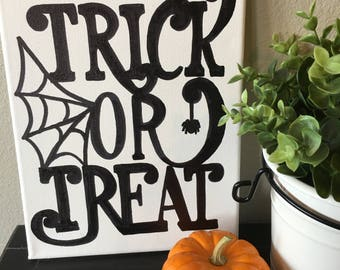 Trick or Treat Black and White Halloween Canvas- 8X10