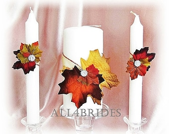 Fall leaves weddings unity candle set,  wedding ceremony candles,