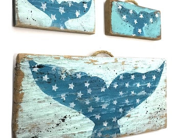 Personalize This Original Art Item-Turquoise Whale Art Handmade Wood Wall Hanging Beach House Decor Beach Art Whale Baby Room Mangoseed