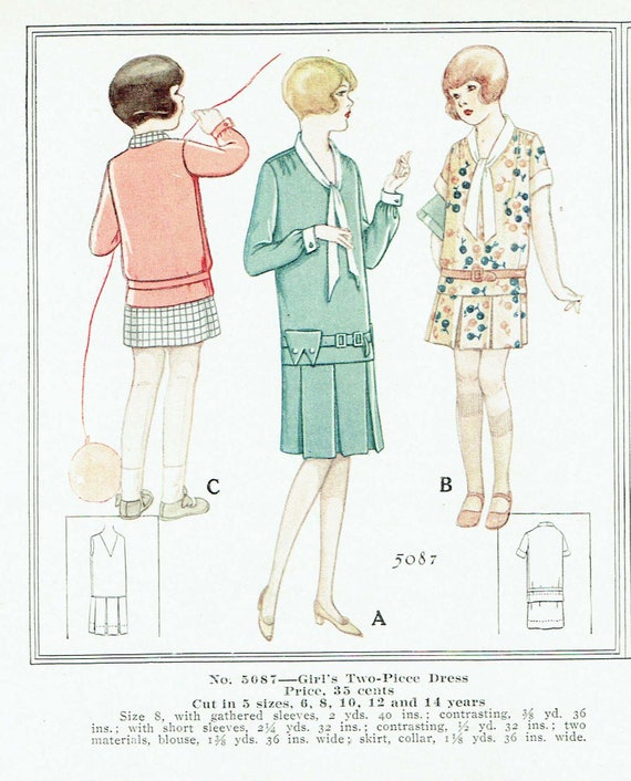 1920s Children Fashions: Girls, Boys, Baby Costumes  1920s Two Piece Girls Dress Size 12 Missing Envelope - Free Pattern Grading E-book IncludedVintage Sewing Pattern 1920s McCall 5087 Two Piece Girls Dress Size 12 Missing Envelope - Free Pattern Grading E-book Included $19.00 AT vintagedancer.com