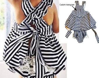 Custom Monogram Black and white stripe outfit
