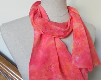 Long crepe silk scarf hand dyed in festive tropical sunrise colors Ready to ship Tequila sunrise scarf #430