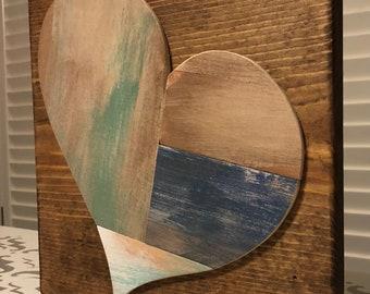 Wooden stitch heart