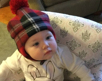 Child's red plaid fleece hat