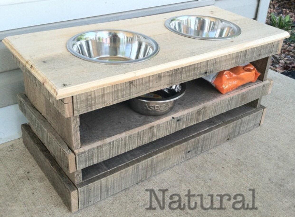 Raised Pallet Dog Bowl Feeding Stand Storage Unit With 2 Quart