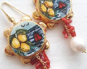 Caltagirone Ceramic earrings, coral earrings, white and silver pearls, Sicilian earrings