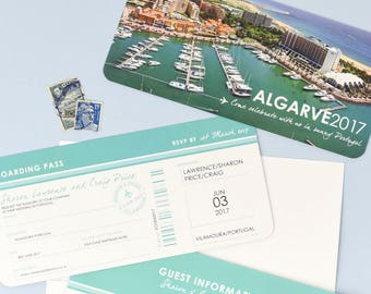 Stylish Airline Ticket Boarding Pass style Invite with tear off RSVP section - Perfect for a destination wedding in Algarve Portugal