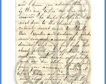 Digital Image of Vintage Letter Featuring Cursive Handwriting. Perfect for Backgrounds!