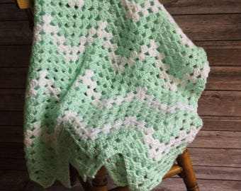 Vintage-Inspired Mint & White Chevron Baby Afghan
