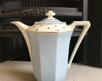 French Vintage China Blue & Gold Tea / Coffee Pot