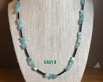 Blue cats Eye chip and black beaded necklace