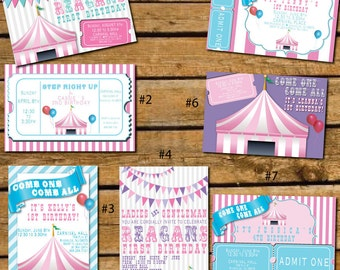 Custom Girl Carnival Theme Invitations.  Great for baby shower or birthdays!