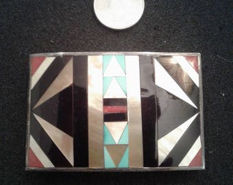Silver buckle with inlay