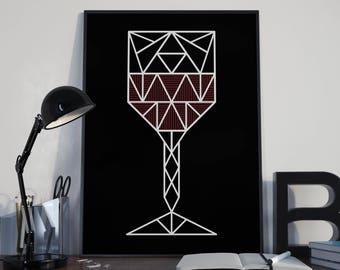Wine Glass Wall Art Poster - Instant Download Printable - Minimalist Illustration - Geometrical Line Art - Home Decor - Wall Hanging Art
