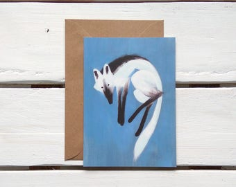 postcard - fox post card - wolf card - animal card - greeting card - animal stationery - just because card - animal  postcard
