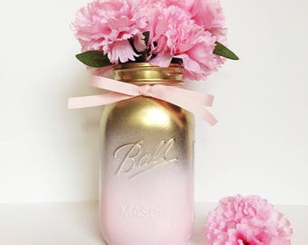 Gold And Pink Ombre Jar, Baby Shower Centerpieces, Girls Baby Shower, Birthday Centerpiece,Ombre Jars.