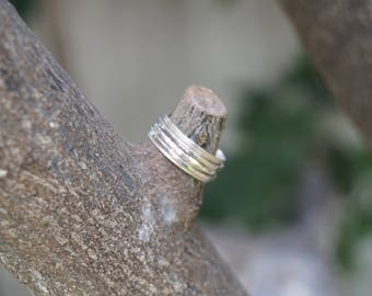 Two-Tier Silver Ring, Ring Wrapped, Braids Winding Ring, Ring Rotating