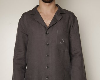 Luxury Pure Linen Personalized Pajama Shirt for Men With Embroidered Monogram on Pocket  and Bag