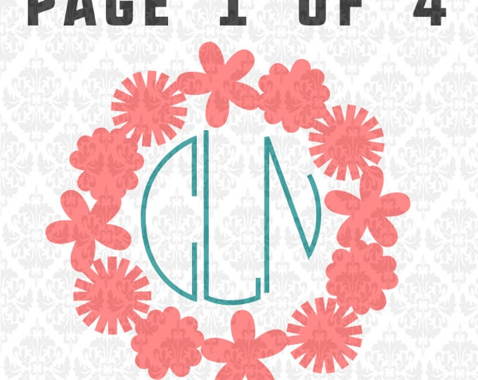 Flowers Daisy Dandelion Frame Monogram Spring Summer SVG DXF Ai Eps PNG Vector Instant Download Commercial cut file Cricut Silhouette