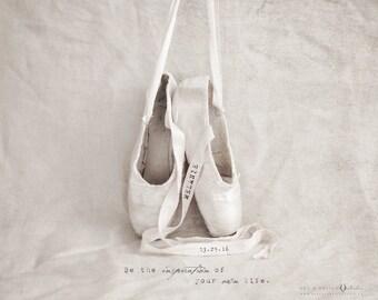 Ballet Slippers Art, Ballet Slippers Photo Print, Nursery Decor, Ballerina Decor Girls Room, Personalized Ballet Print, Ballerina Print