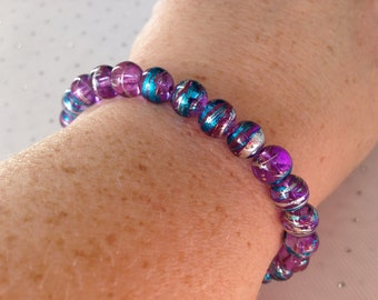 Purple and Blue Multicolored Bracelet, Purple Beaded Bracelet, Multicolored Beaded Jewelry, Multicolored Beaded Bracelet, Blue Bracelet