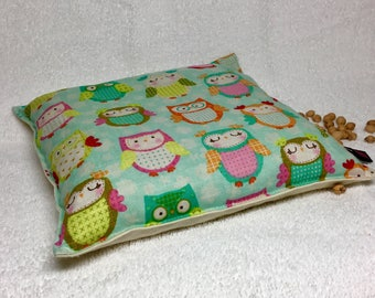 "Cherry Pit Pillow Owls Pad for Warm Cold Therapy Heating Cooling and Balancing Boo Boo made with Cotton Fabric 22oz ca 8""x8"" Large Pillow"