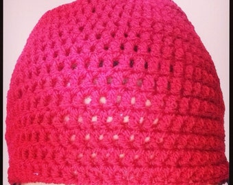 Ladies Red Beanie Hat - Ready To Ship