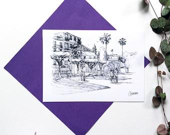 Postcard Santa Margherita Ligure illustration Italy, architecture, seaside landscape, Palm trees ink drawing city ink drawing