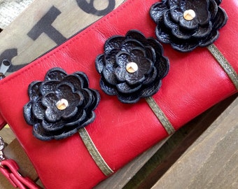 Ready to Ship Black Red Berry Leather Wristlet Clutch Small Purse Iphone Galaxy Cell Phone Brown Poppy Flowers with Key Fob
